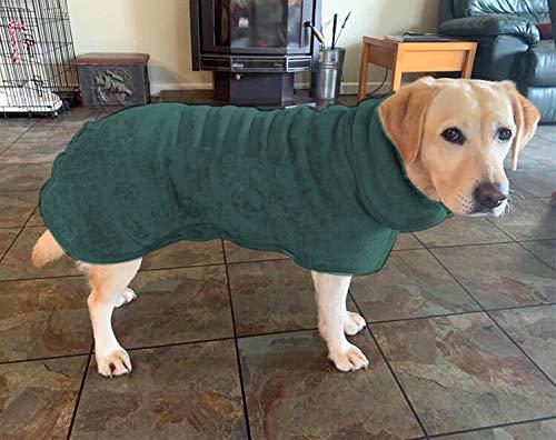 Saugfähiger Hunde-Bademantel, Handtuch, schnell trocknender Mantel und weiche Mikrofaser, schnell trocknender Mantel mit verstellbarem Riemen, Haustierdusche Badezubehör (S, Grün)