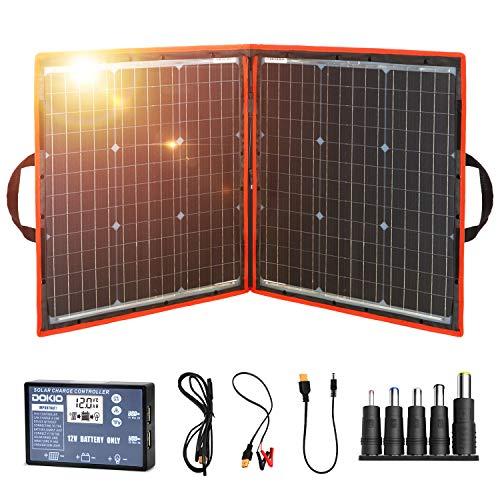 DOKIO Kit de panel solar de 80W monocristalino portátil plegable para carga de batería de 12V con controlador de salida USB, impermeable para camping, caravana, barco