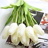 Lot de 10 fleurs tulipes artificielles pour mariage - Bouquet de fleurs et décoration de maison Blanc.