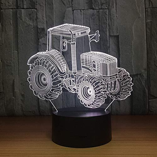 Tractor agrícola Forma de automóvil Año de carga USB 3D LED Luz de noche Lámpara de mesa Decoración de cabecera Regalo para niños