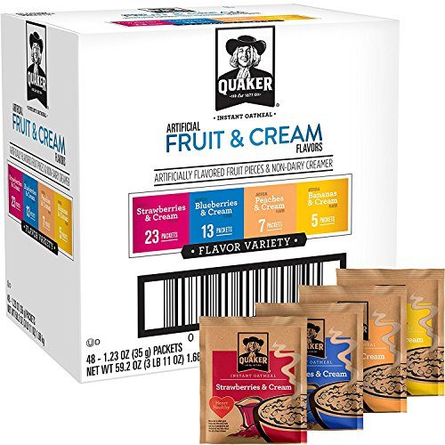 Quaker Instant Oatmeal Fruit and Cream Variety Pack, Breakfast Cereal, 48 Packets (Packaging Will Vary)