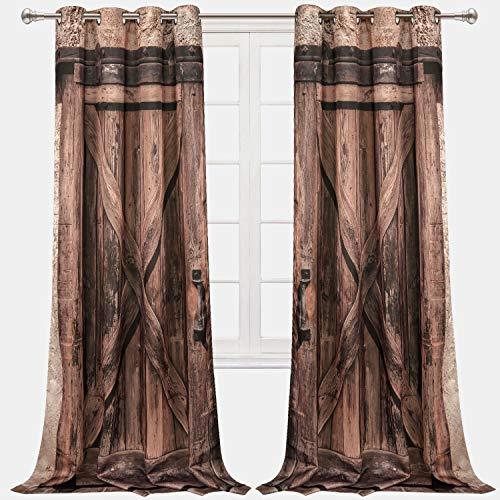 VERTKREA Wood Door Window Curtain, Wooden Window Curtains, Wooden Barn Door Grommet Drapes for Room, Set of 2 Panels, 52 x 84 Inches