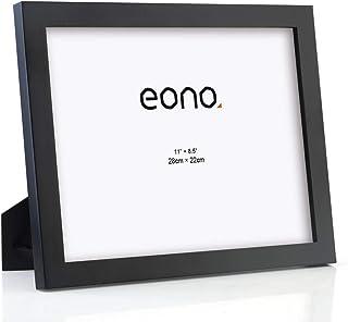 Eono by Amazon - Marco para Diplomas y Documentos de Madera Maciza y Cristal de Alta Definición con pie de Apoyo para Sobremesa 22x28 cm Negro