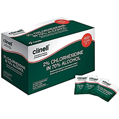 Clinell CA2C240 Wipes, Alcoholic, 2% Chlorhexidine - Pack of 240 by Clinell
