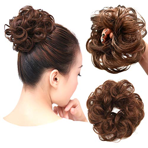 LYRICAL HAIR Bun Hair Piece For Women Curly Messy Synthetic Chignon For Lady Updo Scrunchies Hair Extensions Pomytail Hair Accessories (8# Medium Chestnut Brown)