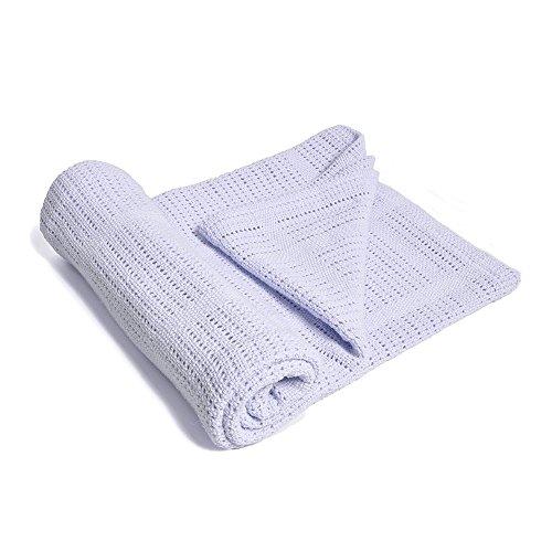 Crystallly 100% zachte premium katoen thermo-wafel deken bank quilt perfect eenvoudige stijl voor lagen elk bed lichtblauw, 31 W X 39 L