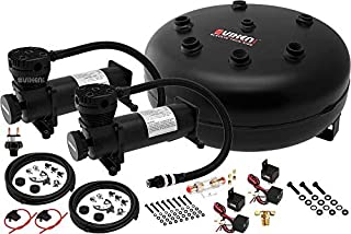 Vixen Air Suspension Kit for Truck/Car Bag/Air Ride/Spring. On Board System- Dual 200psi Compressor, 4 Gallon Tank. for Boat Lift,Towing,Lowering,Load Leveling,Bags,Onboard Train Horn VXO4840DB