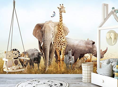 Fototapete Safari Tiere Wandbild Kinderzimmer Kinderzimmer B 366 cm x H 254 cm Kleister inklusive Wanddekoration Papier Poster Afrika