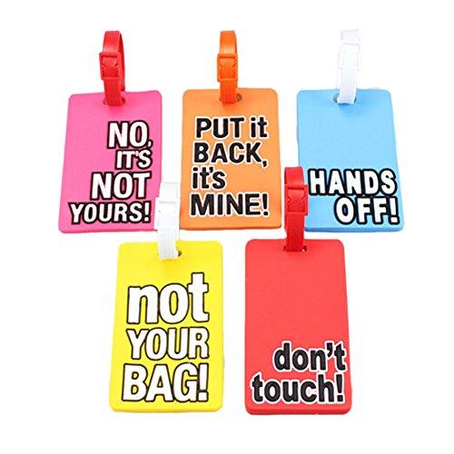 Etiquetas de equipaje de letras frescas de 3 paquetes Etiquetas de nombre de identificador de PVC para maleta de bolsa, patrón aleatorio