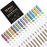 18 Pack Metallic Marker Pens, Lineon 16 Colors Fine Tip Paint Pens with 2 Stencils for DIY Craft Photo Album Rock Art Painting Card Making Glass Wood