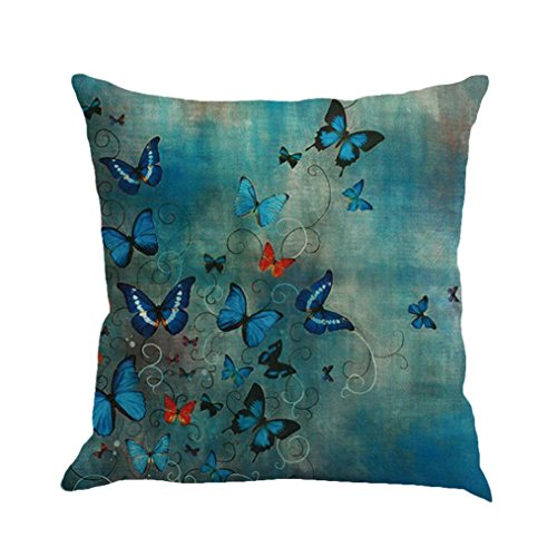 Kavitoz Pillow Cases, Butterfly Painting Linen Cushion Cover Throw Waist Pillow Case Square Sofa Home Decor (A)