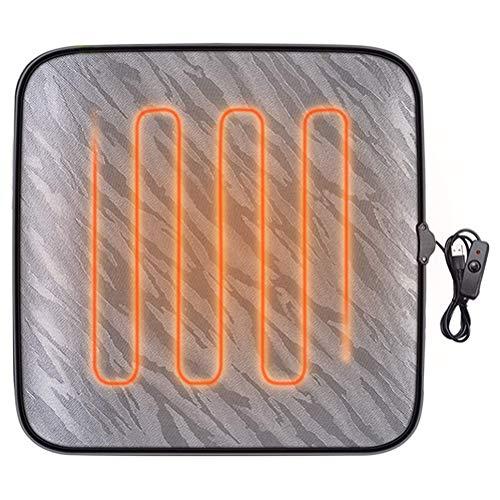 shenruifa Beheizbares Sitzkissen, 12V Beheizbar Auto Sitzheizung Auflage USB beheiztes Bürostuhlkissen mit Überhitzungsschutz Winter rutschfeste quadratische Auto Heizmatte Fahrersitzkissen, 43 * 43CM