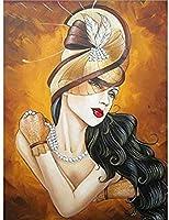 DIYダイヤモンド絵画キット美容女性帽子ダイヤモンド刺繡モザイクセットクロスステッチ赤い唇フルドリルラインストーン家の装飾未完成の工芸品-60x70cm