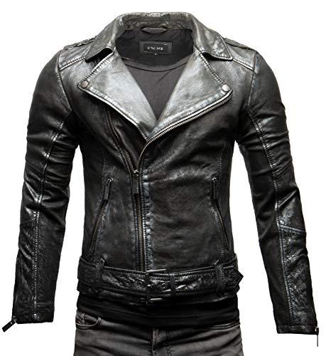 Crone Fynn Herren Biker Lederjacke Basic Echtleder Jacke mit Gürtel und Reverskragen (XL, Silber Metallic)