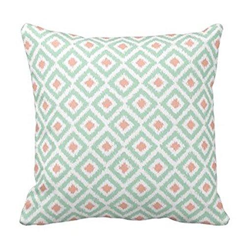 Federa decorativa per divano, motivo a rombi, colore: verde menta e corallo, dimensioni: 45 x 45 cm