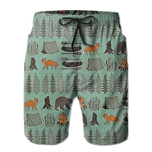 Herren Summer Beach Trunks Bear Fox Zelt Forest Kordelzug Elastic Waist Schnelltrocknende Badehose, Größe L.