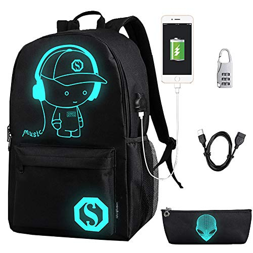 FLYMEI Anime Cartoon Luminous Backpack with USB Charging Port and Anti-theft Lock & Pencil Case, Unisex Fashion College School Bookbag Daypack Travel Laptop Backpack, Black