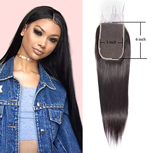 Straight Wave Lace Front Closure 3X6 Free Part Brazilian Human Hair Extensions Silky Preplucked Bleached Knots Sew In Weave Virgin Hair Lace Front Closure For Black Women Wet And Wavy 1B(20 Inch)