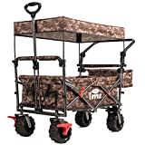 TMZ All Terrain Utility Folding Wagon with Canopy, Collapsible Garden Cart, Folding Trolley Cart, for Shopping, Camping, and Outdoor Activities with Canopy and Push Handle(Camo)