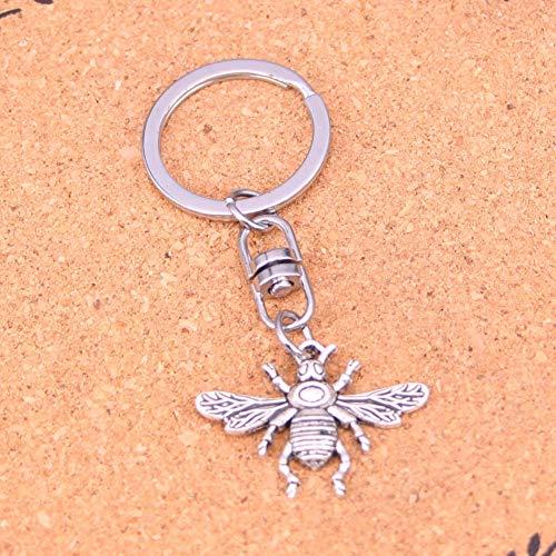 Sleutelhanger Sleutelhanger Ring Verzilverd Bee Honing Sleutelhanger Voor Auto Metalen Hanger Tas Bedel Sleutelhanger