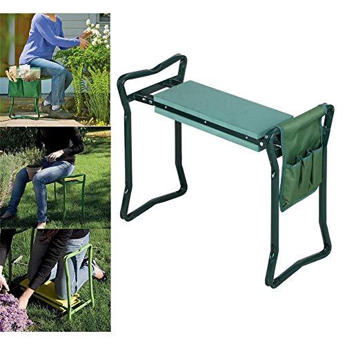 QINAIDI Cojín y cojín Plegables para el jardín Kneeler, Banco de Trabajo para jardinería Silla de Taburete arrodillado para Jardinero, con Bolsas de Herramientas