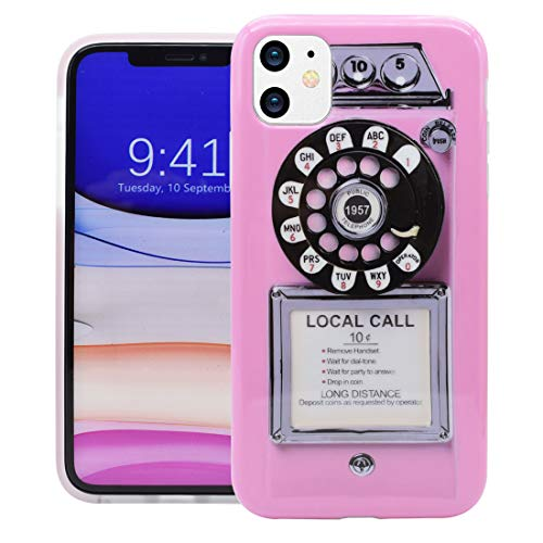 Unov Phone Case for iPhone 11 Case Soft Protective Slim TPU Shockproof Bumper Design 6.1 Inch(Retro Payphone)