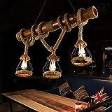 Lámpara colgante retro vintage de cáñamo antiguo, cuerda de hierro, lámpara de techo redonda con jaula de araña tejida a mano, E27 para restaurante cocina Edison