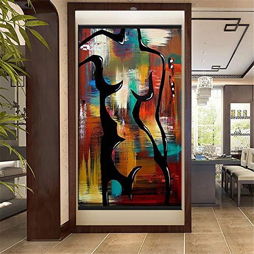 Pintura en Lienzo Cuerpo Femenino Curva Cartel Arte Callejero Pintura en Lienzo Óleo Graffiti Moderno Arte de la Pared Impresiones Decoración para el hogar-50x100cm (sin Marco)