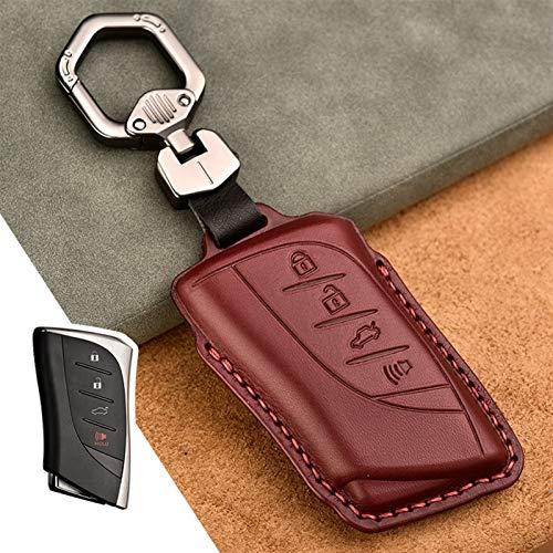 Cubierta de la Caja de la Llave remota del Coche de Cuero Adecuado para Lexus es ES GS GX LS500H NX RX LX LC RC 200 250 570 2018 2019 Accesorios de Estilo de automóvil (Color Name : 4 Button Red)