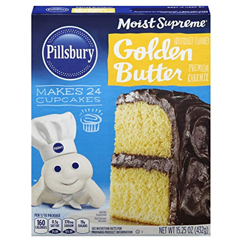 Pillsbury Moist Supreme Golden Butter Recipe Flavored Premium Cake Mix, 15.25-Ounce (Pack of 12)