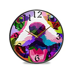 CaTaKu Animal Dog Round Wall Clock Silent Non Ticking, Rainbow Puppy Desk Clock Battery Operated Quartz Decorative 12'' Clock for Living Study Class Room Office Kitchen