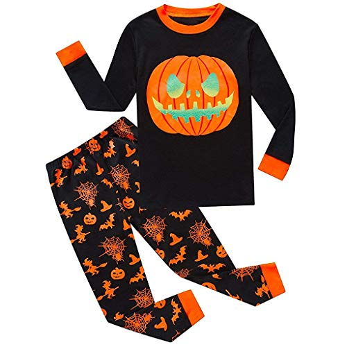 Familie Kleidung Pyjamas Set, Halloween Kostüm Kinder Skelett Ghosts Kürbis Drucken Langarm Rundhals T-Shirts + Hosen Lang (110(3-4 Jahre),Orange)