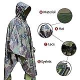 Aodoor Regenjacken Regenponcho wasserdicht regenmantel für die Jagd Camping, Freizeit Regenmantel, Camouflage Rain Poncho - 4