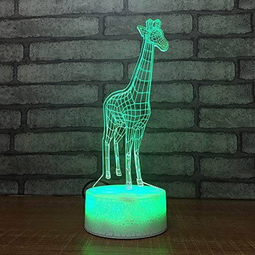 3D-lamp, optische illusie, led, nachtlampje, giraf, tekenfilmfiguur, illusie, bedlampje, bedlampje, voor kinderen, jongens en meisjes, cadeau voor verjaardag