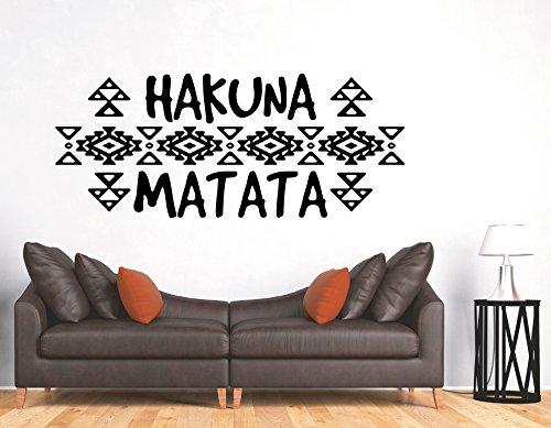 tjapalo® s-pkm393 Wandtattoo Wohnzimmer mit Wandspruch Sprüche Hakuna Matata (B58 x H24 cm)