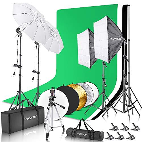 Neewer Kit d'Éclairage Complete: 259x305 cm Système de Support de Toile de Fond, 800W 5500K Softbox Éclairage Kit, 5-en-1 Réflecteur Disc, Trépied, Support de Téléphone, Sac de Transport pour Studio