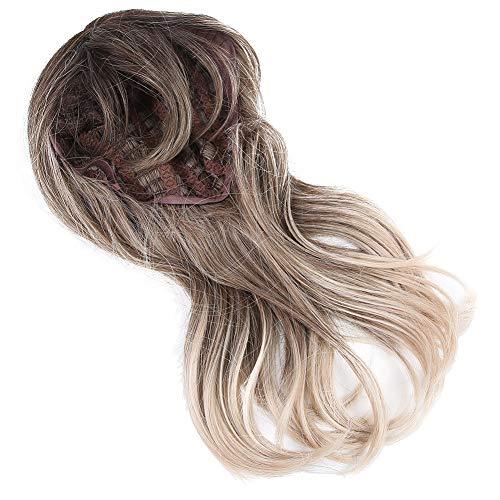 Peruca sintética feminina marrom claro estilosa 46 cm