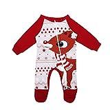 Frecoccialo - Conjunto de pijama navideño a juego con la familia de moda, juego de noche para familia con ciervos de nieve Cervo Rosso Baby 3-6 Meses
