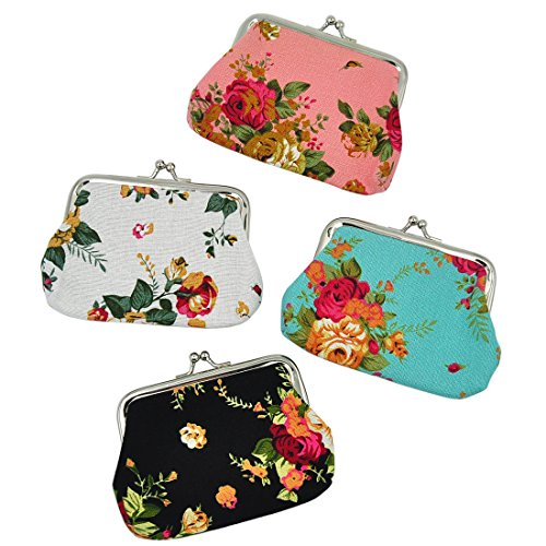 Oyachic 4 Packs Coin Purse Pouch Vintage Change Purse Rose Coin Pouch Cute Change Bag Handbag Small Wallet Christmas Birthday Gift for Women