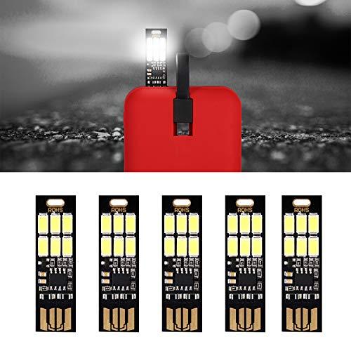 Yizhet 5 STK. USB Licht Schlüsselanhänger Super Hell 6 LED Touch Dimmer Tragbar für Laptop Tastatur, Weißlicht USB Beleuchtung(Kaltes Weiß) (Kaltes weiß)