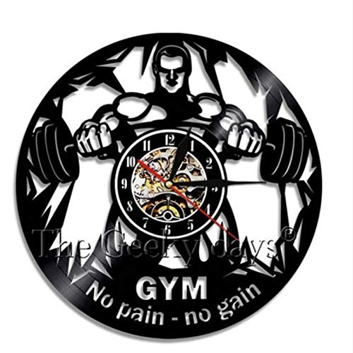 Muscle Lady Workout Motivation Circle Levantamiento de Pesas Reloj de Pared Decorativo Gym Reloj de Pared con Disco de Vinilo para Culturismo Femenino