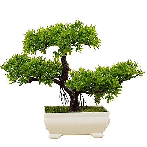 Decoración japonesa para salón, bonsái, plantas de interior en maceta artificial, altura aprox. 20 cm, color verde