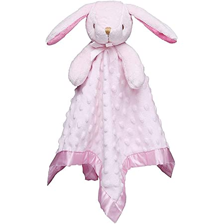 Pro Goleem Loveys for Babies Bunny Security Blanket Girl Newborn Soft Pink Lovie Gift for Infant and Toddler