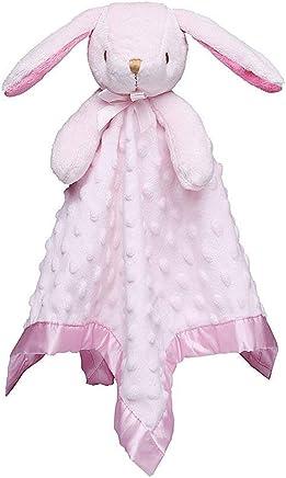 "Pro Goleem Bunny Baby Lovey Stuffed Plush Lovie/Security Blanket for Girls Minky Dot Fabric Blankie Best Easter Day Gift for Newborn/Infant (Pink,  15"")"