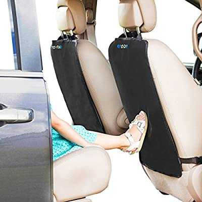Enovoe Kick Mats - Premium Quality Car Seat Protector Mat Best Waterproof Protection of Your Upholstery from Dirt, Mud, Scratches - Extra Large Car Seat Back Covers