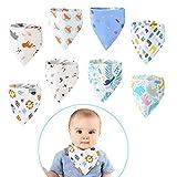 Baby Dreieckstuch 8 Stück, Baumwolle Sabberlätzchen bandana baby mit verstellbaren Druckknöpfen, saugfähige und weiche Halstuch Baby Lätzchen für Kleinkinder Jungen und Mädchen