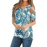 Y2K - Camiseta de manga corta para mujer, estilo vintage, con estampado de flores, estilo informal, con estampado de manga corta y cuello redondo, Mujer, azul, large