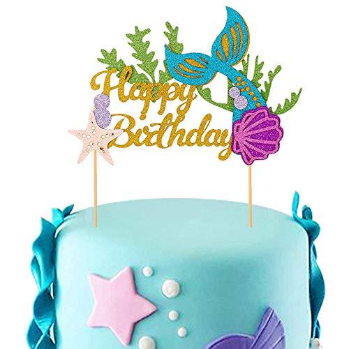 Feelairy Glitter Mermaid Cake Topper Mermaid Cupcake Topper Happy Birthday Cake Picks Mermaid Cake Decoration para Mermaid Baby Shower Birthday Party Supplies