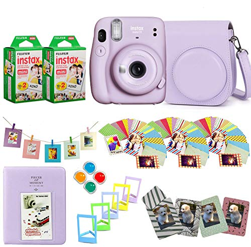 Fujifilm Instax Mini 11 Instant Camera + Fuji Instax Film 40 Shots + Protective Case + Magnetic Frames + Album, Frames Design Kit (Lilac Purple)