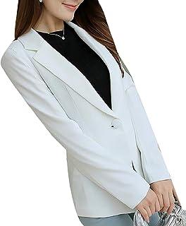 3040fab6161 Cromoncent Womens Solid Work Suit Coat One Button Elegant Blazer Jacket